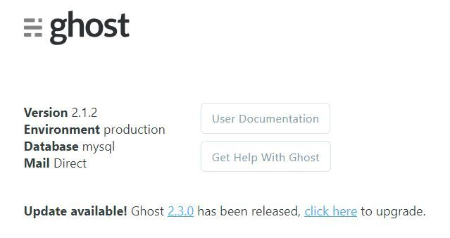 Ghost CMS Update Version